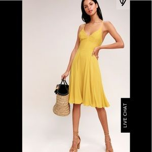NWOT Lulu's Troulos Mustard Yellow Lace Up Dress